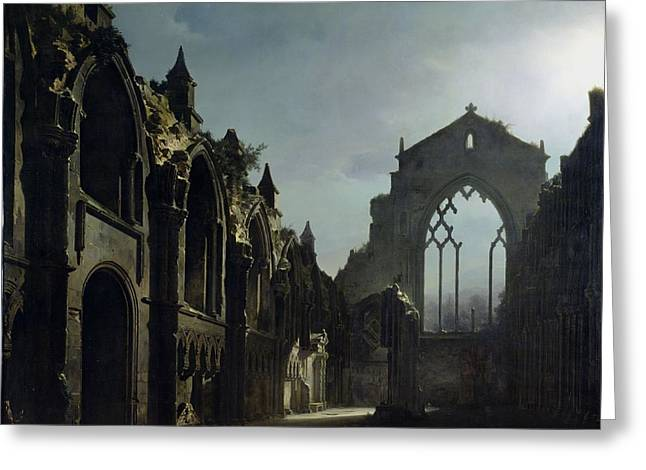 Arched Windows Greeting Cards - Ruins of Holyrood Chapel Greeting Card by Louis Jacques Mande Daguerre