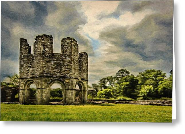 Greeting Card featuring the painting Ruins Of Mellifont Abbey by Jeff Kolker