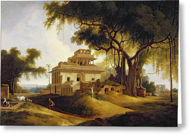 Ruins Paintings Greeting Cards - Ruins of the Naurattan Greeting Card by Thomas Daniell