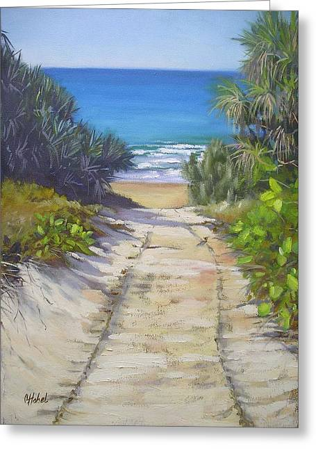 Greeting Card featuring the painting Rules Beach Queensland Australia by Chris Hobel