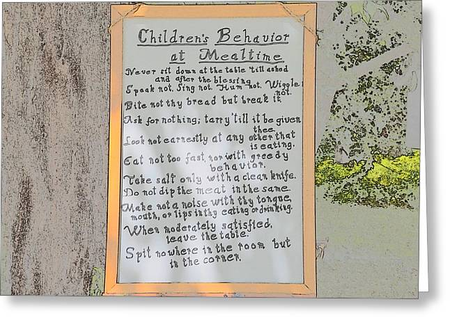 Rules For Children Greeting Card by Robert Nelson