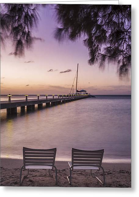 Rum Point Beach Chairs At Dusk Greeting Card