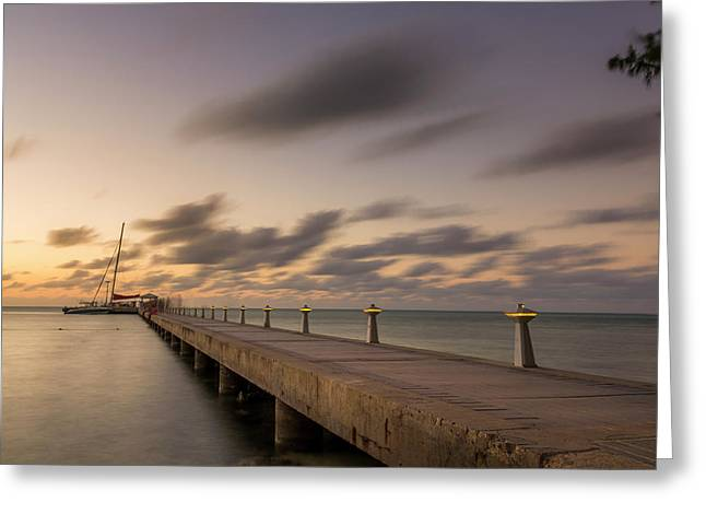Greeting Card featuring the photograph Rum Point Grand Cayman At Dusk by Adam Romanowicz