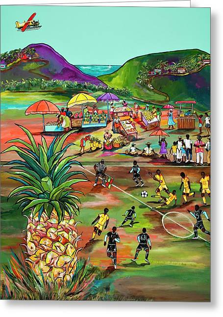 Greeting Card featuring the painting Rum With The Pineapple by Patti Schermerhorn