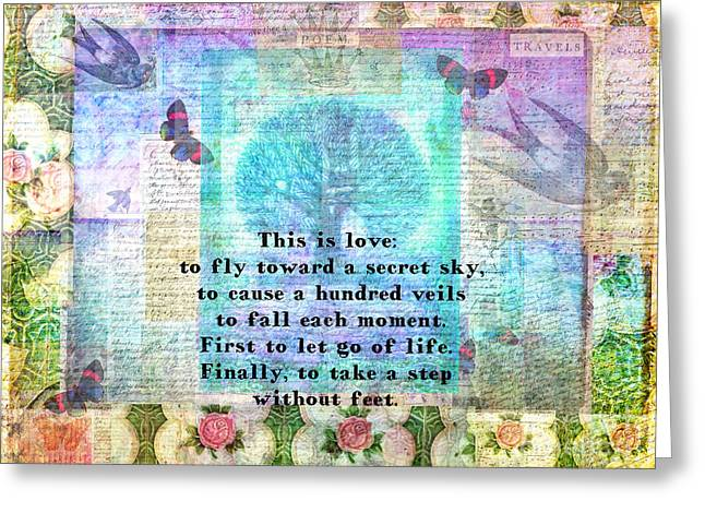 First Love Greeting Cards - Rumi Secret Sky quote Greeting Card by Sansa Starlight
