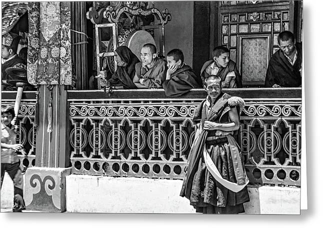 Rumtek Monastery Festival Bw Greeting Card by Steve Harrington