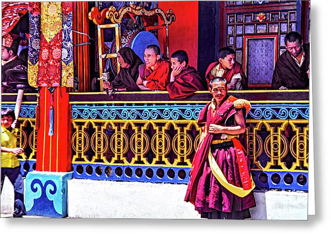 Rumtek Monastery Festival Greeting Card by Steve Harrington