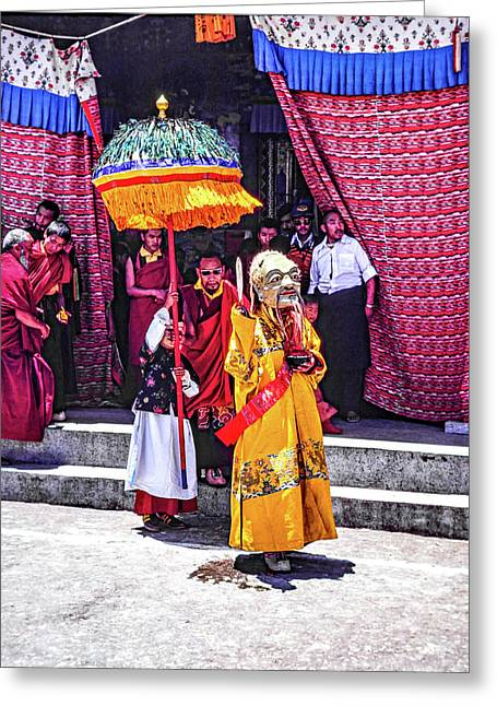 Rumtek Monastery Procession Greeting Card by Steve Harrington