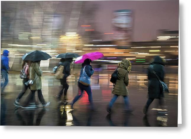 Run Between The Raindrops Greeting Card