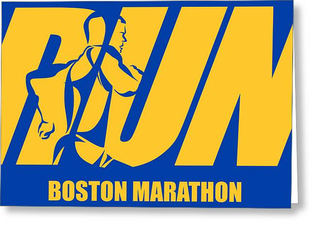 Run Boston Marathon Greeting Card by Joe Hamilton
