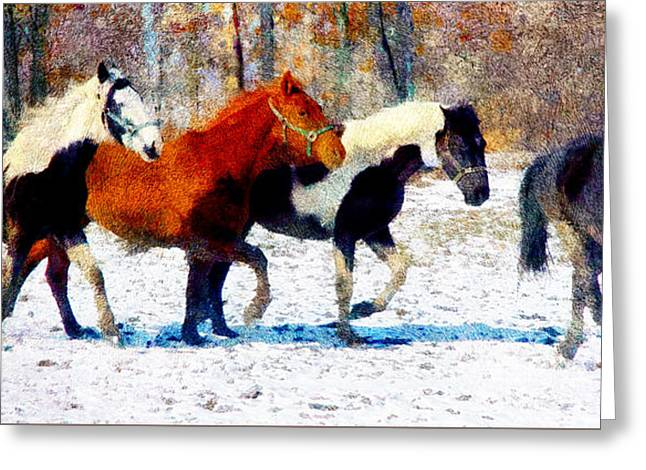 Run Through Winter Greeting Card by Georgiana Romanovna