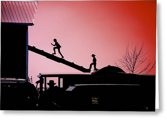 Run To The Hayloft Greeting Card by Patrick Hart