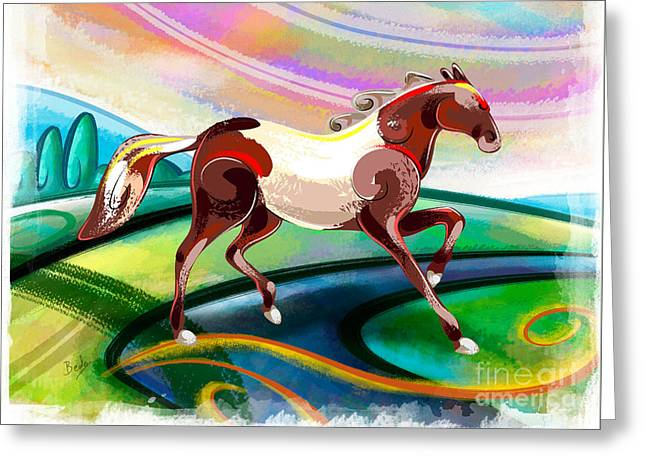 Runaway Horse Greeting Card by Bedros Awak
