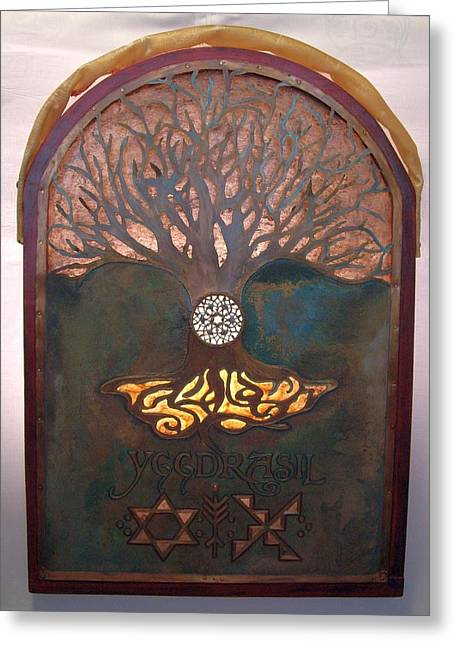 Runes For Restoration Illuminated Greeting Card by Shahna Lax