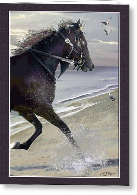 Race Horse Pyrography Greeting Cards - Runner Three Greeting Card by John Breen