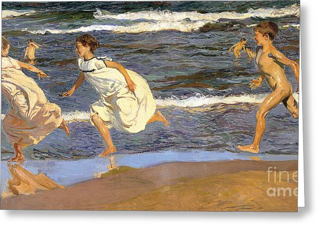 Running Along The Beach Greeting Card