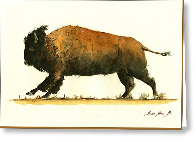 Running American Buffalo Greeting Card by Juan  Bosco