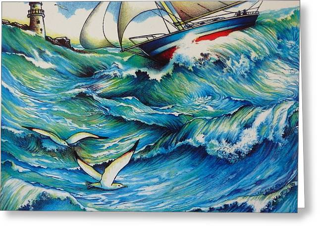 Running Before The Wind Greeting Card