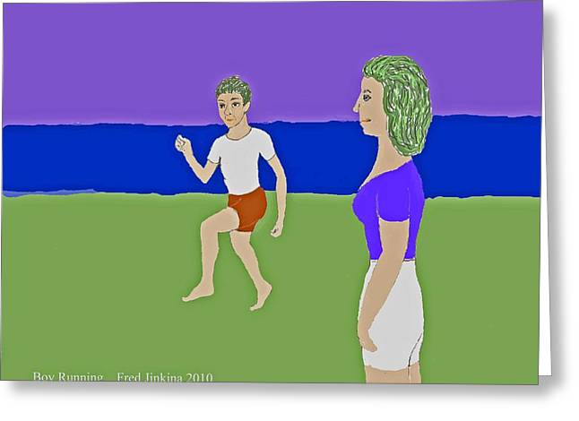 Running Boy Greeting Card by Fred Jinkins