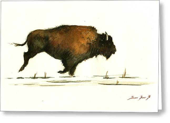 Running Buffalo Greeting Card