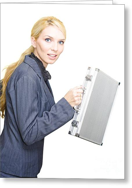Running Business Woman Greeting Card by Jorgo Photography - Wall Art Gallery