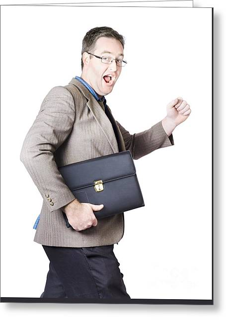 Running Businessman Greeting Card by Jorgo Photography - Wall Art Gallery