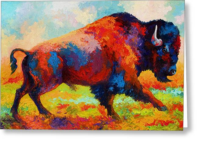 Running Free - Bison Greeting Card by Marion Rose