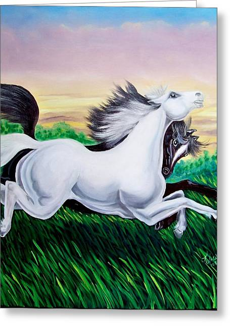 Running Free Greeting Card by Kathern Welsh