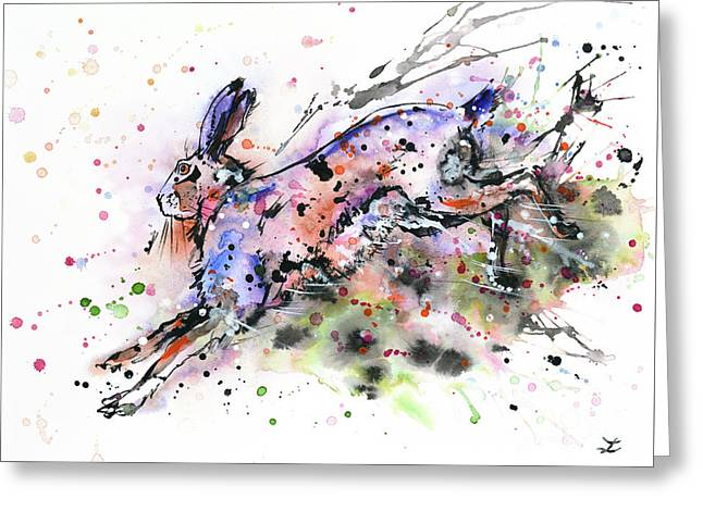 Running Hare Greeting Card by Zaira Dzhaubaeva