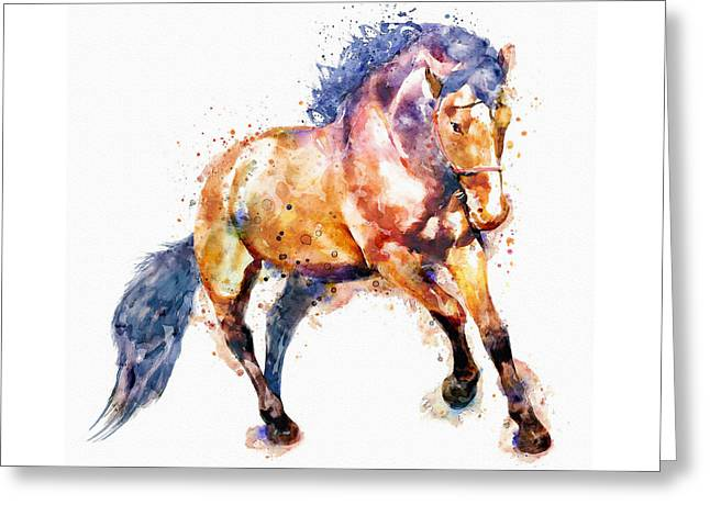Running Horse Greeting Card by Marian Voicu