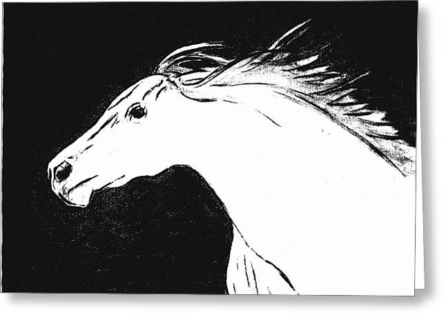 Running Horse Greeting Card by Philip Smeeton
