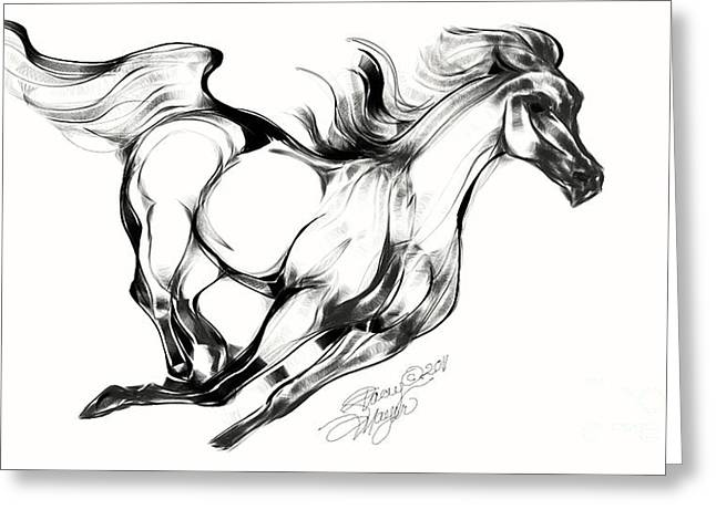 Night Running Horse Greeting Card