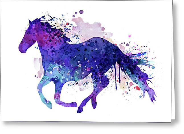 Running Horse Watercolor Silhouette Greeting Card