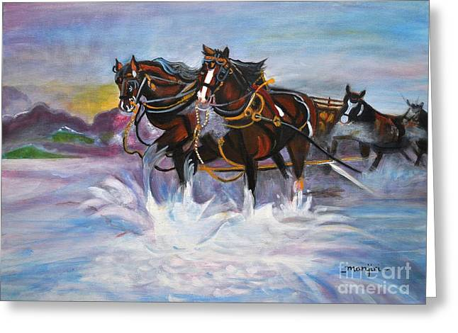 Running Horses- Beach Gallop Greeting Card