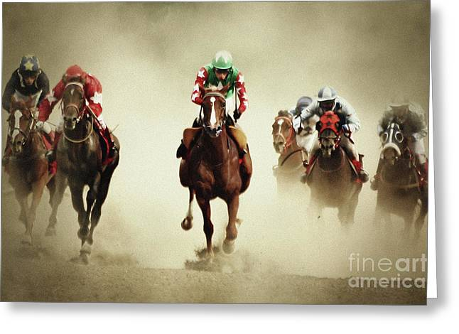 Running Horses In Dust Greeting Card