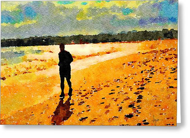 Greeting Card featuring the painting Running In The Golden Light by Angela Treat Lyon