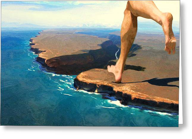 Running On The Edge Greeting Card