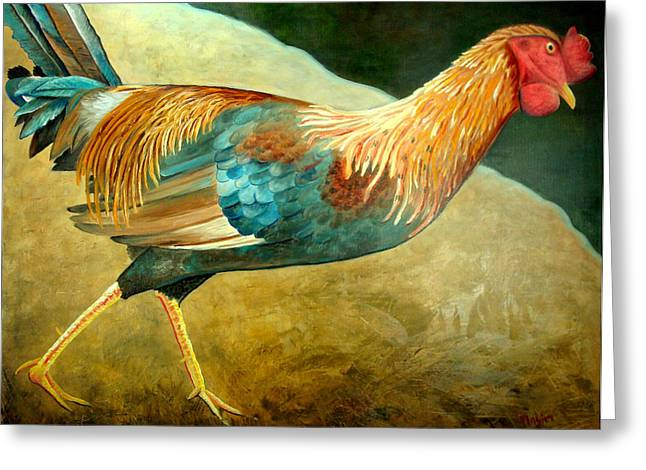 Running Rooster Greeting Card by Scott Plaster