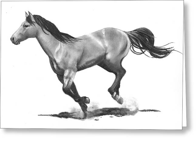 Running Stallion Greeting Card by Joyce Geleynse