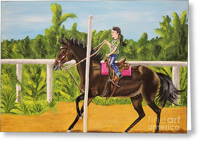 Running The Poles Greeting Card by Sheri LaBarr