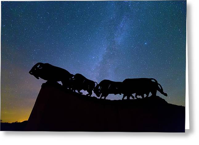Running Under The Milky Way Greeting Card by Stephen Stookey