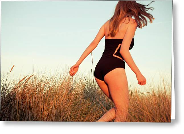Running Unsharp In The Golden Hour Greeting Card