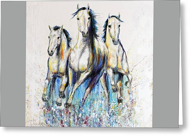 Running With The Herd Horse Painting Greeting Card