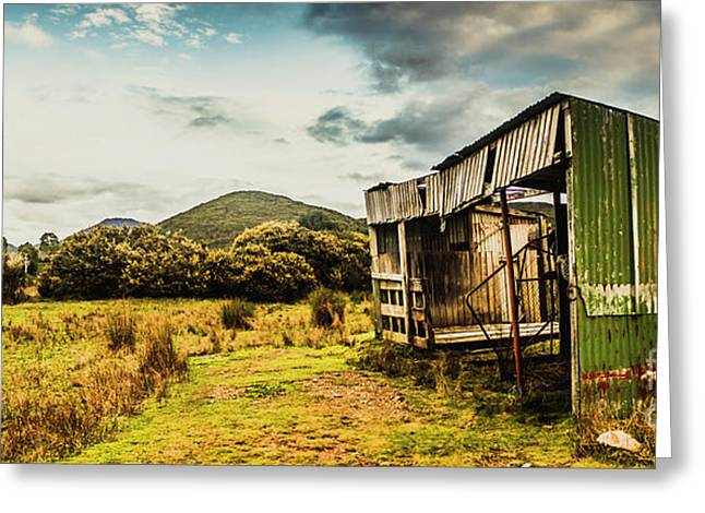 Rustic Abandoned Shed In Old Rural Countryside Greeting Card