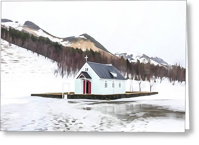 Rural Church In Iceland Greeting Card by Tom and Pat Cory