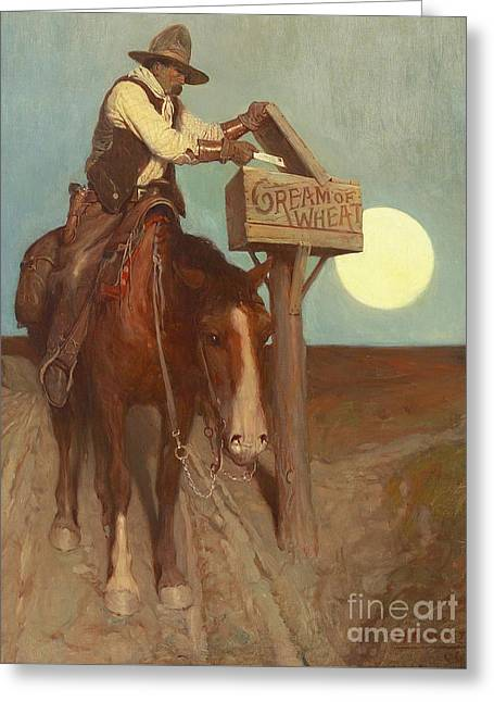 Rural Delivery Greeting Card by Newell Convers Wyeth