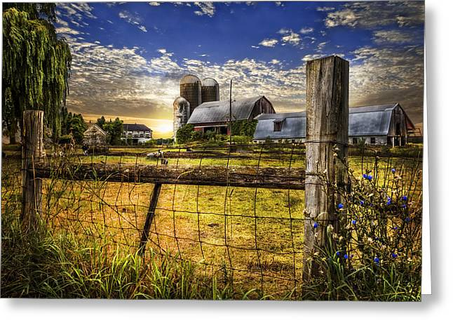 Rural Farms Greeting Card by Debra and Dave Vanderlaan