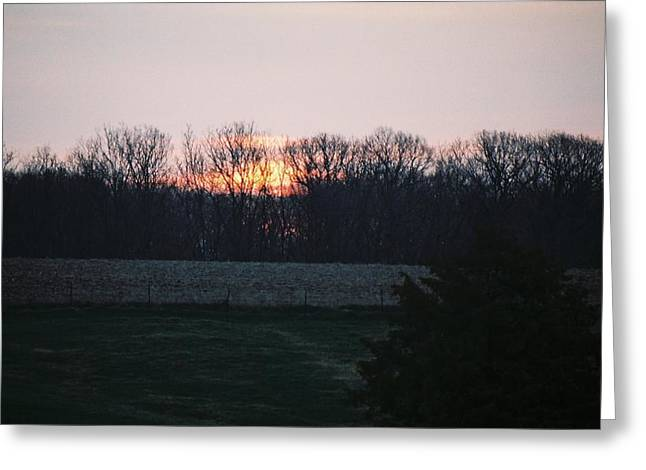 Rural Illinois Sunset Greeting Card by C E McConnell