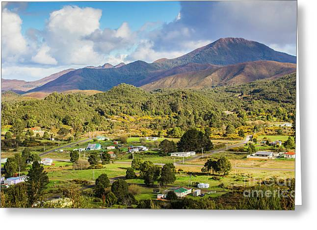 Rural Landscape With Mountains And Valley Village Greeting Card by Jorgo Photography - Wall Art Gallery