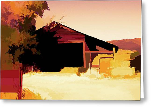 Greeting Card featuring the digital art Rural Pop No 1 Hay Shed And Tree by David King